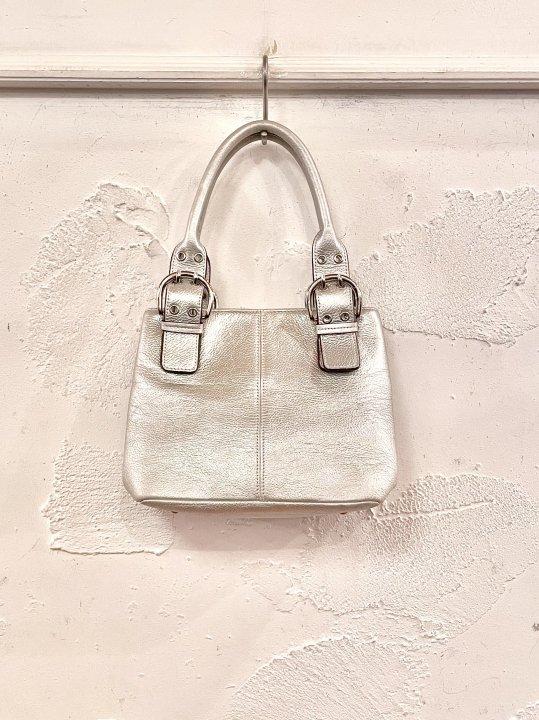 Vintage Metallic Silver Leather Hand Bag