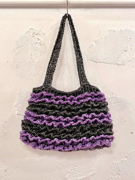 Vintage Black and Purple Straw Tote Bag