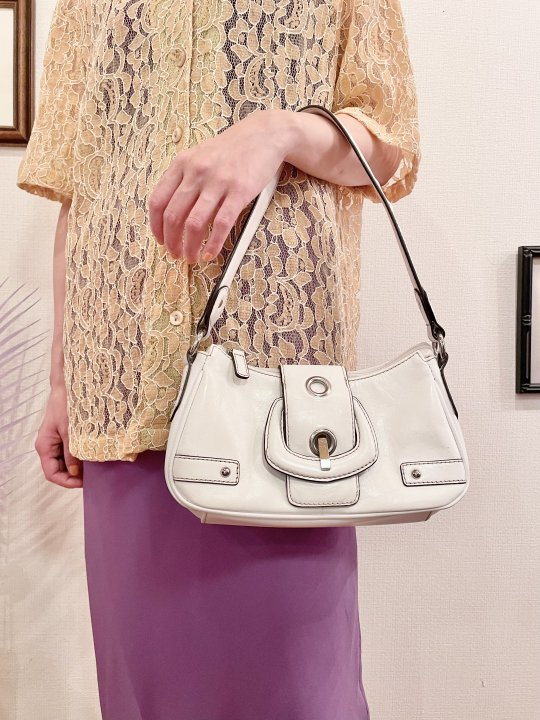 Vintage WILSONS LEATHER White Leather Hand Bag
