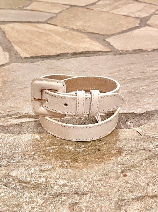 Vintage White Leather Belt S