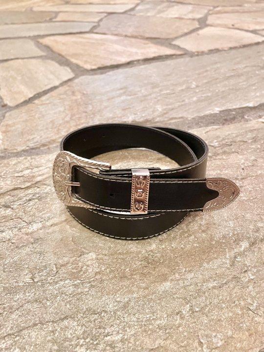 Vintage Black Synthetic Leather Belt Buffalo M