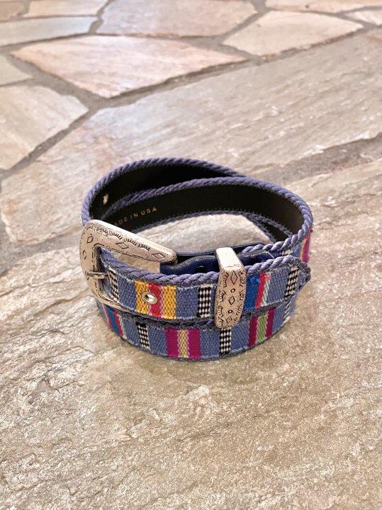 Vintage Purple Gray Ethnic Woven Belt M