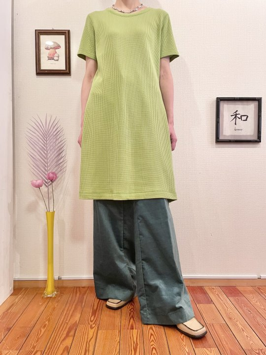 Vintage Lime Green Thermal S/S Dress L