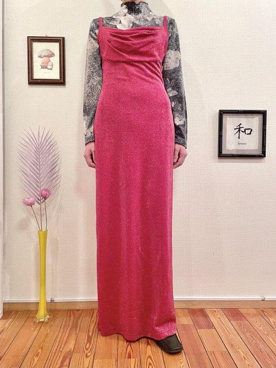 Vintage Red Glitter Maxi Length Cami Dress M