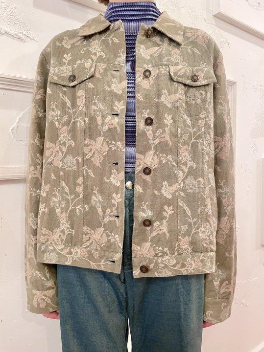 Vintage Green Gray Floral Jacquard Trucker Jacket M