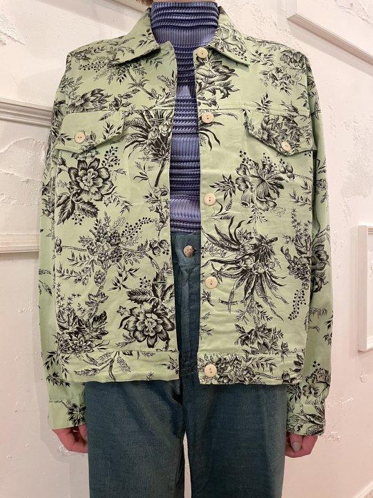Vintage Mint Green Floral Print Trucker Jacket M