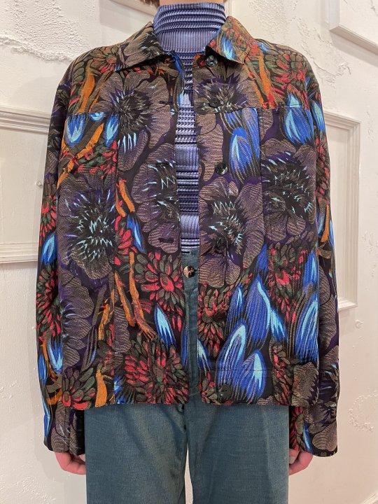 Vintage Black Botanical Jacquard Trucker Jacket L<img class='new_mark_img2' src='https://img.shop-pro.jp/img/new/icons50.gif' style='border:none;display:inline;margin:0px;padding:0px;width:auto;' />