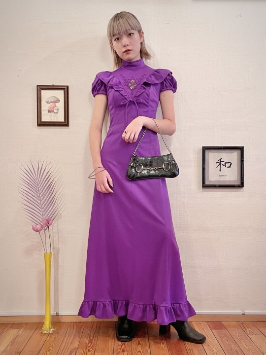 Vintage Purple Frill & Embroidery Design S/S Maxi Dress M<img class='new_mark_img2' src='https://img.shop-pro.jp/img/new/icons50.gif' style='border:none;display:inline;margin:0px;padding:0px;width:auto;' />