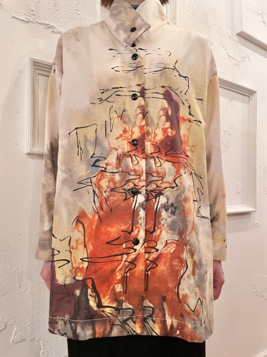Vintage Beige Hand Painted Design Jacket M <img class='new_mark_img2' src='https://img.shop-pro.jp/img/new/icons50.gif' style='border:none;display:inline;margin:0px;padding:0px;width:auto;' />