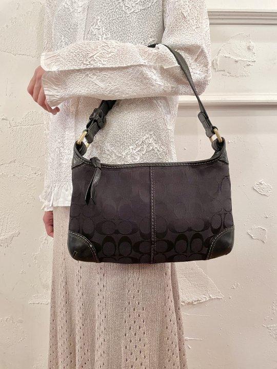 Vintage COACH Black Signature Hand Bag