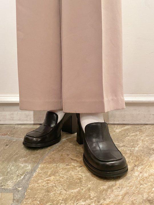 Vintage Black Leather Heel Loafers 24.0cm