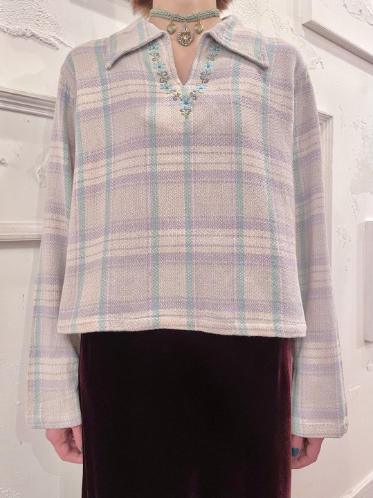 Vintage Floral Embroidery Plaid Pull Over Shirt M