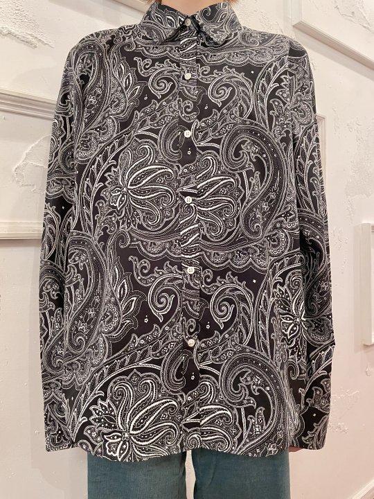 Vintage LAUREN Black Paisley Print Shirt M