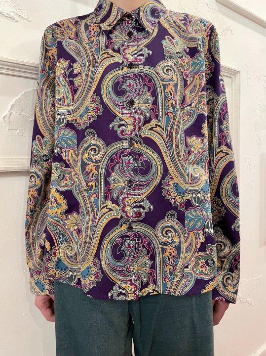 Vintage Purple Paisley Print Shirt M