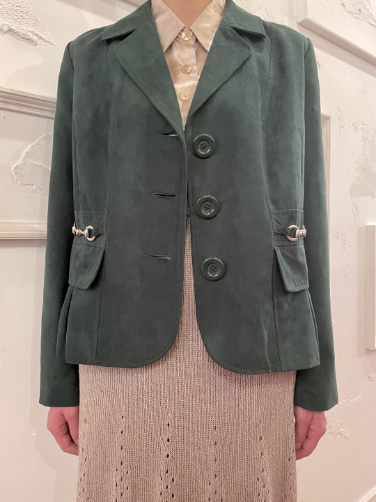 Vintage Green Faux Suede Tailored Jacket S