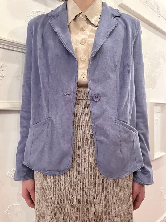 Vintage/DeadStock Wire Design Blue Gray Faux Suede Tailored Jacket S