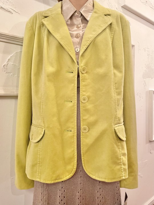 Vintage/DeadStock Lime Yellow Velour Tailored Jacket L<img class='new_mark_img2' src='https://img.shop-pro.jp/img/new/icons50.gif' style='border:none;display:inline;margin:0px;padding:0px;width:auto;' />