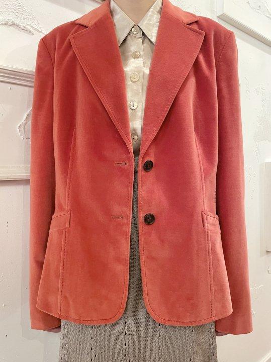 Vintage Orange Velour Tailored Jacket M<img class='new_mark_img2' src='https://img.shop-pro.jp/img/new/icons50.gif' style='border:none;display:inline;margin:0px;padding:0px;width:auto;' />