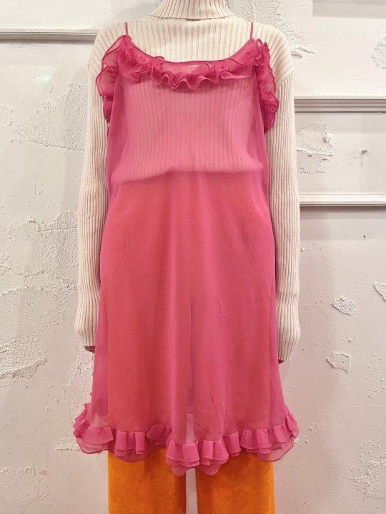 Vintage Coral Pink Frilled Sheer Camisole Dress M