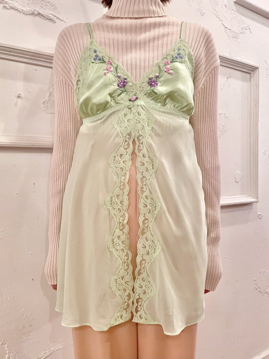 Vintage Pale Green Embroidery Camisole Top S