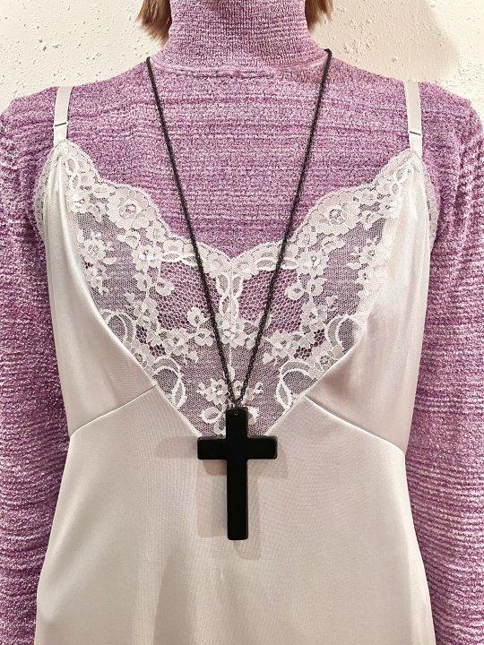 Vintage Cross Top Black Chain Necklace