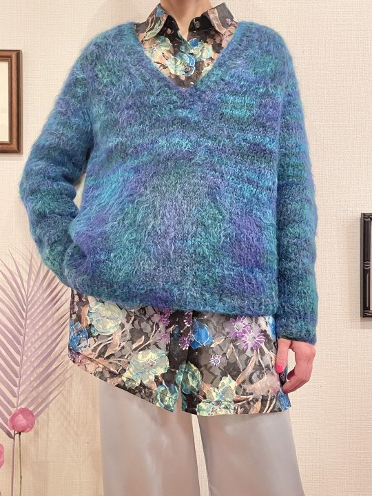 Vintage Blue Green Mohair Knit Sweater M<img class='new_mark_img2' src='https://img.shop-pro.jp/img/new/icons50.gif' style='border:none;display:inline;margin:0px;padding:0px;width:auto;' />