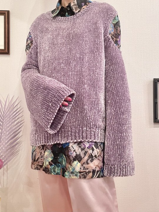 Vintage Purple Gray Cut Out Design Mole Knit Sweater M<img class='new_mark_img2' src='https://img.shop-pro.jp/img/new/icons50.gif' style='border:none;display:inline;margin:0px;padding:0px;width:auto;' />
