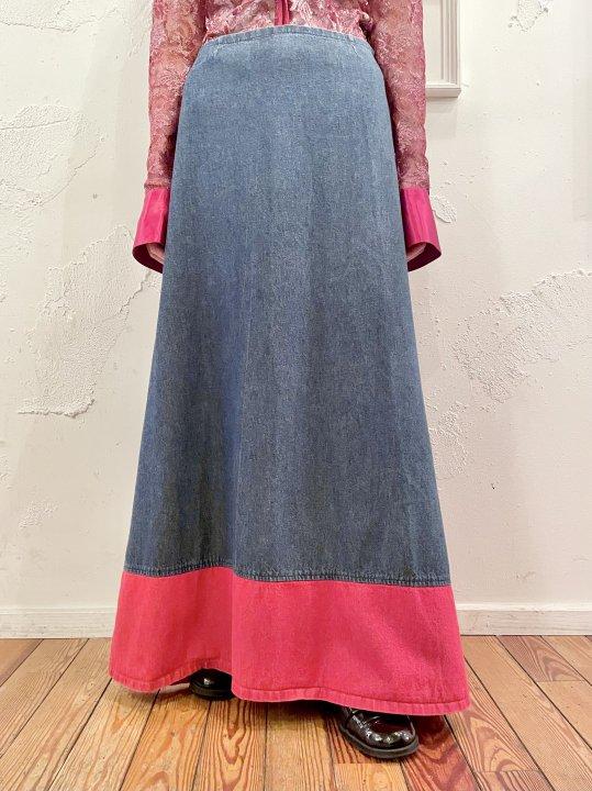 2 Tone Design Denim Long Skirt L