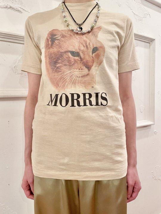 Vintage MORRIS Beige Cat Print T-Shirt S