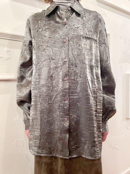 Vintage Metallic Silver Wrinkle Design Shirt M