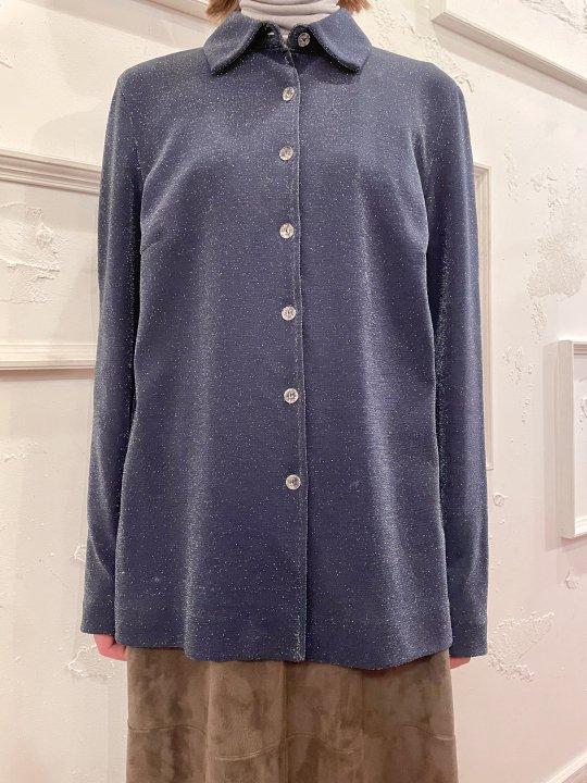 Vintage Navy Gray Shiny Design Shirt M<img class='new_mark_img2' src='https://img.shop-pro.jp/img/new/icons50.gif' style='border:none;display:inline;margin:0px;padding:0px;width:auto;' />