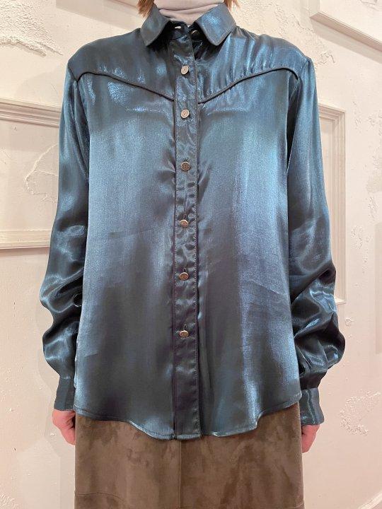 Vintage Metallic Green Western Design Shirt M