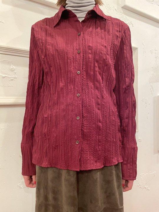 Vintage Wine Red Wrinkle Design Shirt M
