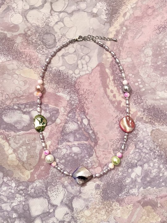 Upcycled Pearl Necklace Metallic Pink