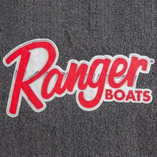 【Ranger Boats レンジャーグッズ】45×24.25/RANGER CARPET DECAL - SCRIPT LOGO WITH CHROME