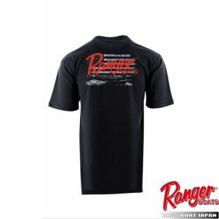 【Ranger Boats レンジャーウェア】Ranger SS Tee with Boat and Distressed Flag - Black